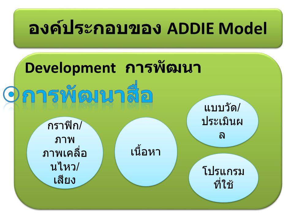 Development การพัฒนา องค์ประกอบของ ADDIE Model โปรแกรม ที่ใช้ กราฟิก / ภาพ ภาพเคลื่อ นไหว / เสียง เนื้อหา แบบวัด / ประเมินผ ล