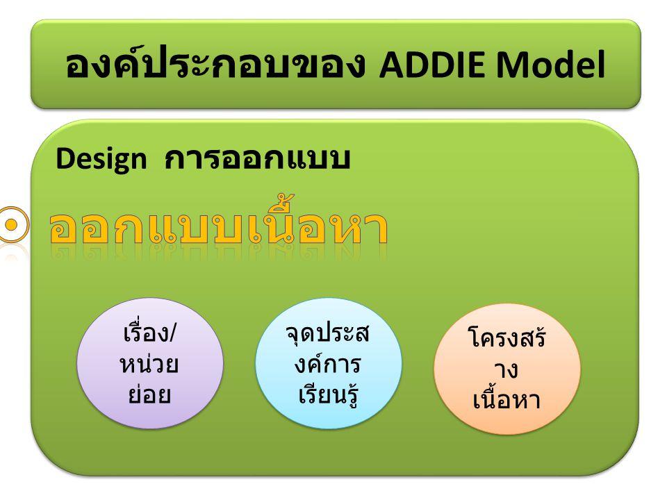Design การออกแบบ องค์ประกอบของ ADDIE Model เรื่อง / หน่วย ย่อย โครงสร้ าง เนื้อหา จุดประส งค์การ เรียนรู้