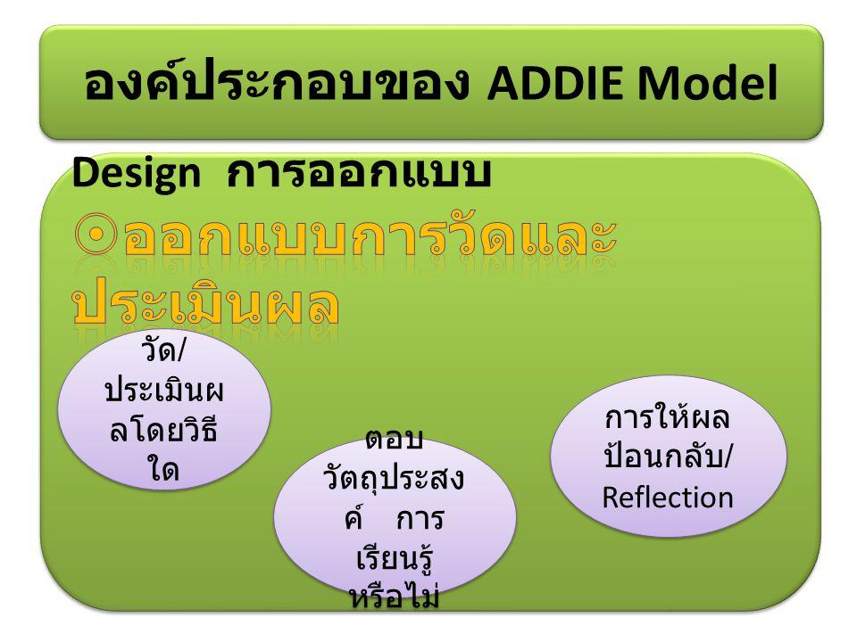องค์ประกอบของ ADDIE Model วัด / ประเมินผ ลโดยวิธี ใด ตอบ วัตถุประสง ค์ การ เรียนรู้ หรือไม่ การให้ผล ป้อนกลับ / Reflection