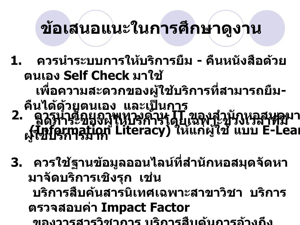 ข้อเสนอแนะในการศึกษาดูงาน 1. ควรนำระบบการให้บริการยืม - คืนหนังสือด้วย ตนเอง Self Check มาใช้ เพื่อความสะดวกของผู้ใช้บริการที่สามารถยืม - คืนได้ด้วยตน