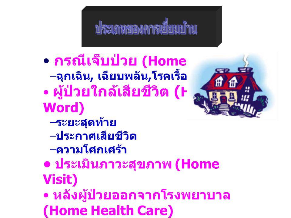 กรณีเจ็บป่วย (Home Word) – ฉุกเฉิน, เฉียบพลัน, โรคเรื้อรัง ผู้ป่วยใกล้เสียชีวิต ( Home Word) – ระยะสุดท้าย – ประกาศเสียชีวิต – ความโศกเศร้า ประเมินภาวะสุขภาพ (Home Visit) หลังผู้ป่วยออกจากโรงพยาบาล (Home Health Care) – การรักษา, หลังคลอดบุตร Brian K, 1991
