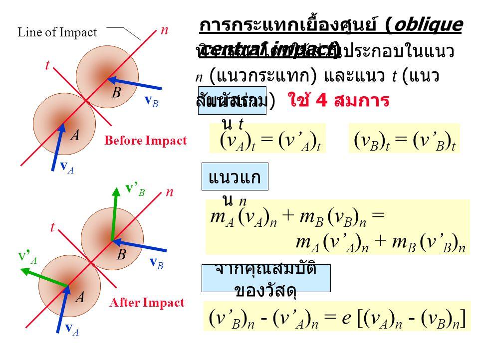 การกระแทกเยื้องศูนย์ (oblique central impact) m A (v A ) n + m B (v B ) n = m A (v' A ) n + m B (v' B ) n A B v'Av'A v'Bv'B After Impact vAvA vBvB (v A ) t = (v' A ) t (v' B ) n - (v' A ) n = e [(v A ) n - (v B ) n ] แนวแก น n n t แนวแก น t จากคุณสมบัติ ของวัสดุ พิจารณาโดยใช้ส่วนประกอบในแนว n ( แนวกระแทก ) และแนว t ( แนว สัมผัสร่วม ) ใช้ 4 สมการ A B Before Impact vAvA vBvB n t Line of Impact (v B ) t = (v' B ) t