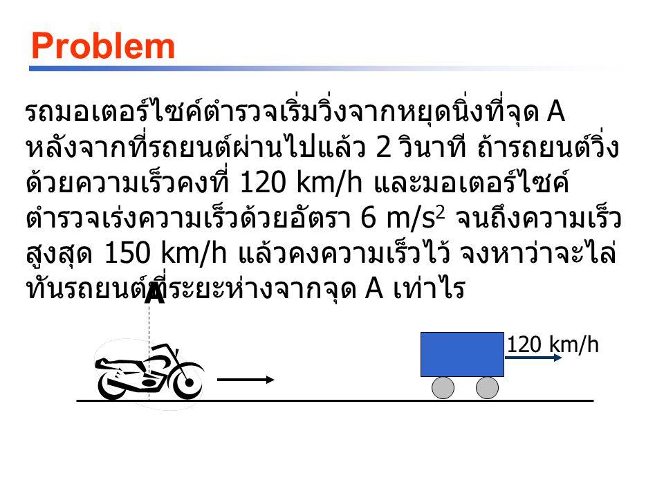 Problem รถมอเตอร์ไซค์ตำรวจเริ่มวิ่งจากหยุดนิ่งที่จุด A หลังจากที่รถยนต์ผ่านไปแล้ว 2 วินาที ถ้ารถยนต์วิ่ง ด้วยความเร็วคงที่ 120 km/h และมอเตอร์ไซค์ ตำรวจเร่งความเร็วด้วยอัตรา 6 m/s 2 จนถึงความเร็ว สูงสุด 150 km/h แล้วคงความเร็วไว้ จงหาว่าจะไล่ ทันรถยนต์ที่ระยะห่างจากจุด A เท่าไร 120 km/h A