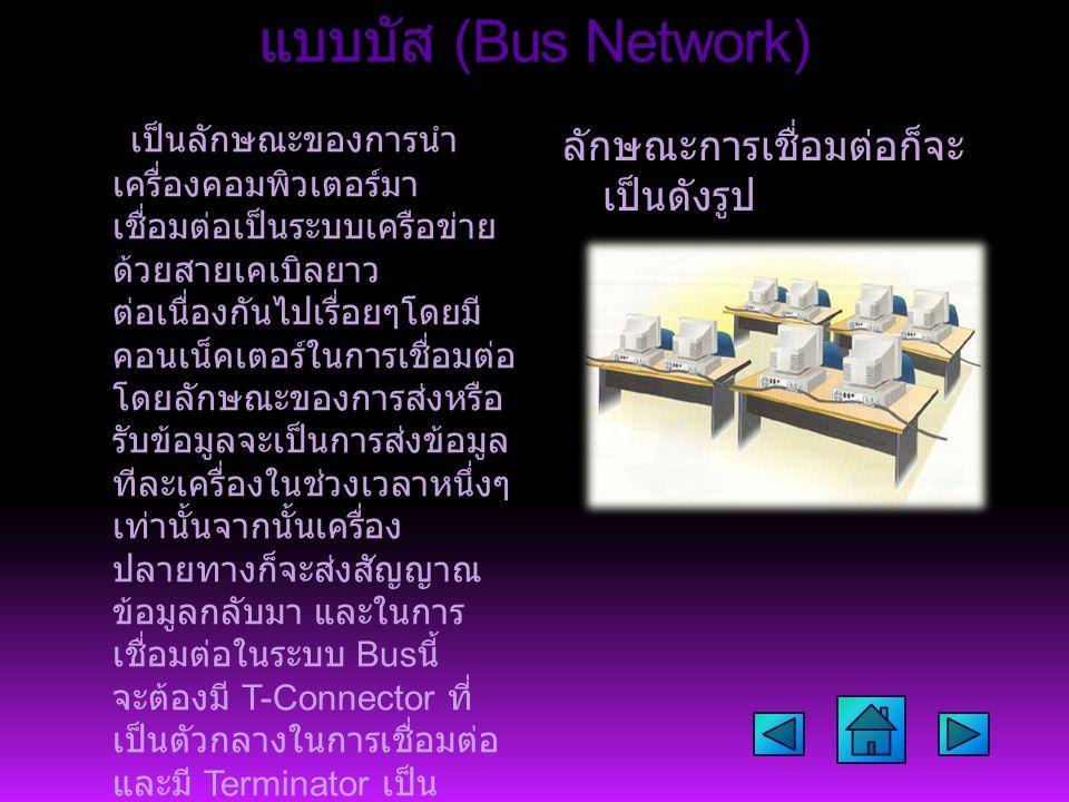แบบบัส (Bus Network) เป็นลักษณะของการนำ เครื่องคอมพิวเตอร์มา เชื่อมต่อเป็นระบบเครือข่าย ด้วยสายเคเบิลยาว ต่อเนื่องกันไปเรื่อยๆโดยมี คอนเน็คเตอร์ในการเ