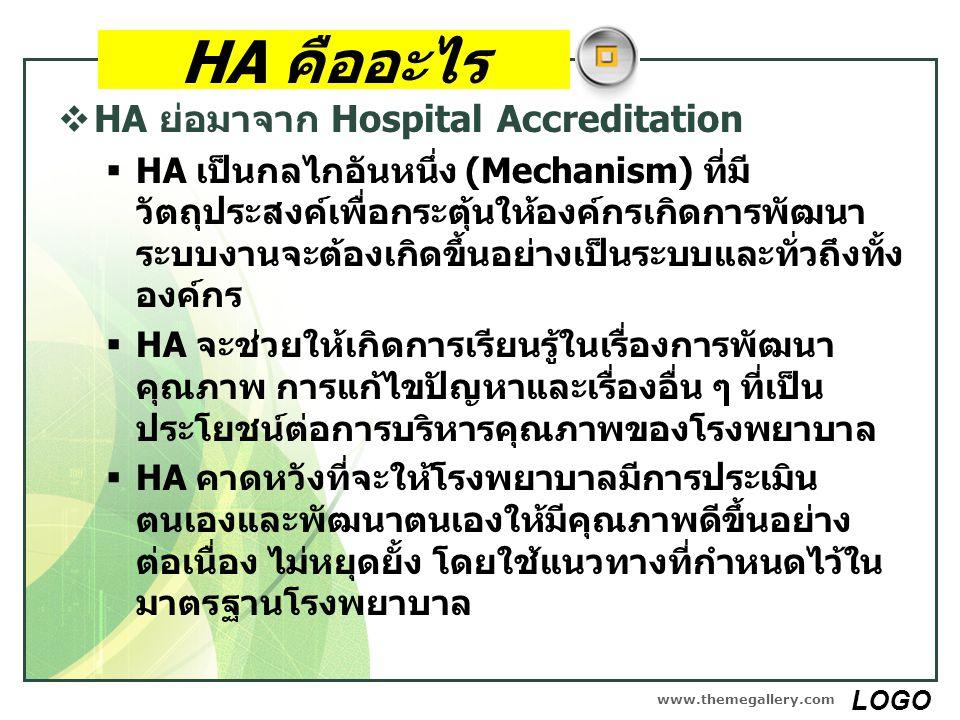 HA คืออะไร  HA ย่อมาจาก Hospital Accreditation  HA เป็นกลไกอันหนึ่ง (Mechanism) ที่มี วัตถุประสงค์เพื่อกระตุ้นให้องค์กรเกิดการพัฒนา ระบบงานจะต้องเกิ