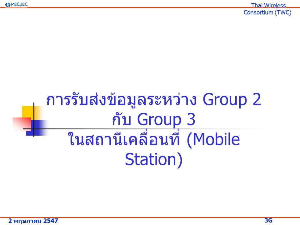 การรับส่งข้อมูลระหว่าง Group 2 กับ Group 3 ในสถานีเคลื่อนที่ (Mobile Station) 2 พฤษภาคม 2547 3G Research Project 3G Research Project Thai Wireless Consortium (TWC) Thai Wireless Consortium (TWC)