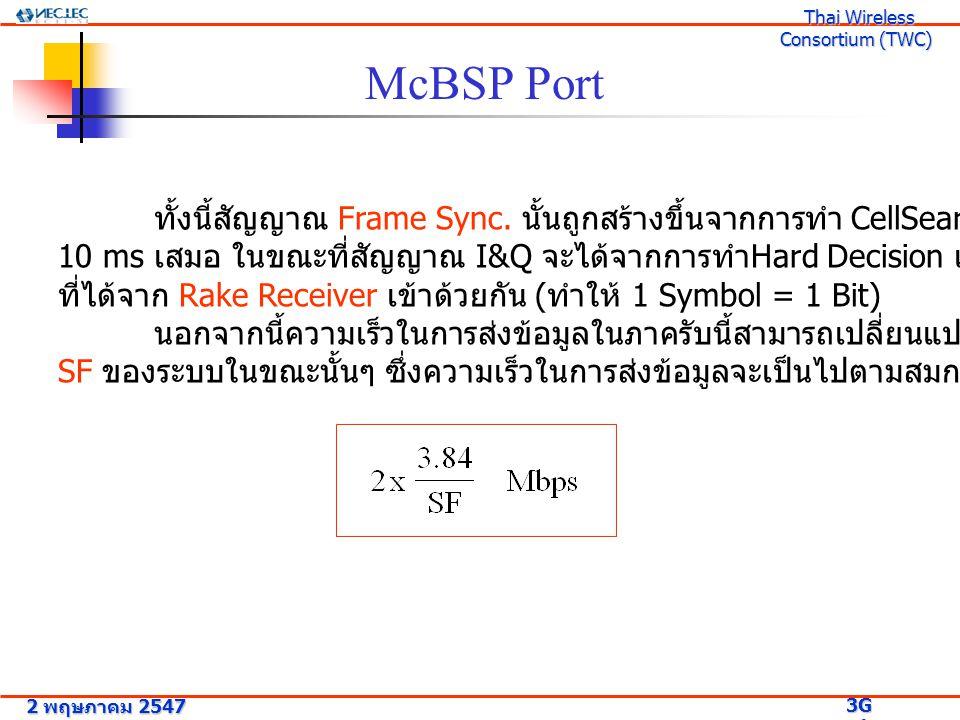 McBSP Port ทั้งนี้สัญญาณ Frame Sync. นั้นถูกสร้างขึ้นจากการทำ CellSearch โดยแต่ละตัวจะห่างกัน 10 ms เสมอ ในขณะที่สัญญาณ I&Q จะได้จากการทำ Hard Decisio