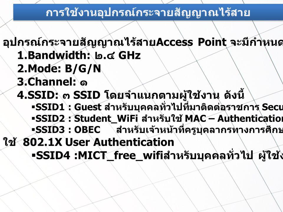 การใช้งานอุปกรณ์กระจายสัญญาณไร้สาย อุปกรณ์กระจายสัญญาณไร้สาย Access Point จะมีกำหนดค่าดังนี้ 1. Bandwidth: ๒. ๔ GHz 2.Mode: B/G/N 3.Channel: ๑ 4.SSID:
