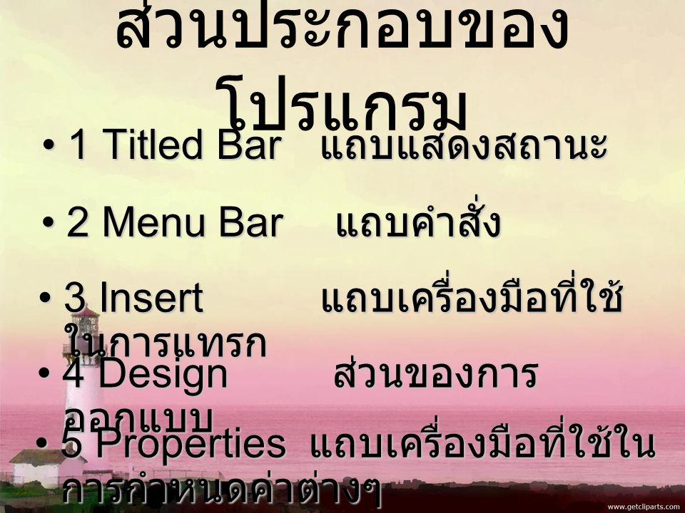 ส่วนประกอบของ โปรแกรม 1 Titled Bar แถบแสดงสถานะ1 Titled Bar แถบแสดงสถานะ 2 Menu Bar แถบคำสั่ง2 Menu Bar แถบคำสั่ง 3 Insert แถบเครื่องมือที่ใช้ ในการแทรก3 Insert แถบเครื่องมือที่ใช้ ในการแทรก 4 Design ส่วนของการ ออกแบบ4 Design ส่วนของการ ออกแบบ 5 Properties แถบเครื่องมือที่ใช้ใน การกำหนดค่าต่างๆ5 Properties แถบเครื่องมือที่ใช้ใน การกำหนดค่าต่างๆ