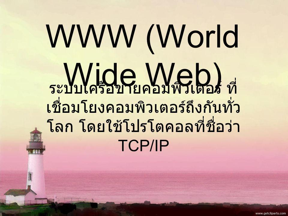 WWW (World Wide Web) ระบบเครือข่ายคอมพิวเตอร์ ที่ เชื่อมโยงคอมพิวเตอร์ถึงกันทั่ว โลก โดยใช้โปรโตคอลที่ชื่อว่า TCP/IP