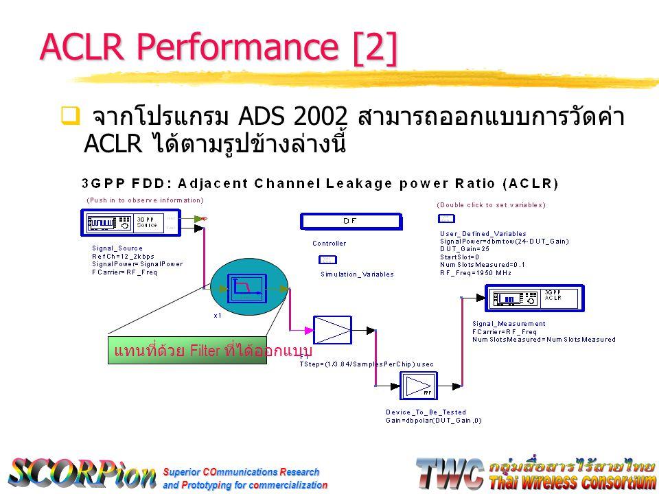 Superior COmmunications Research and Prototyping for commercialization ACLR Performance [2]  จากโปรแกรม ADS 2002 สามารถออกแบบการวัดค่า ACLR ได้ตามรูปข้างล่างนี้ แทนที่ด้วย Filter ที่ได้ออกแบบ
