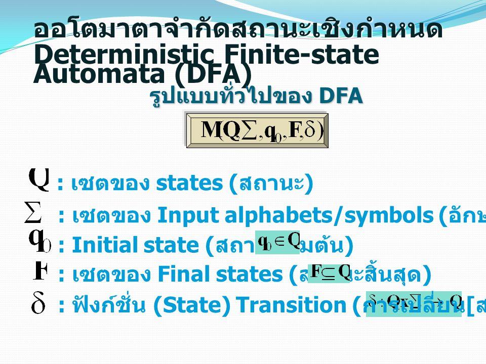 : เซตของ states ( สถานะ ) : เซตของ Input alphabets/symbols ( อักษร / สัญลักษณ์ รับเข้า ) : Initial state ( สถานะเริ่มต้น ) : เซตของ Final states ( สถา