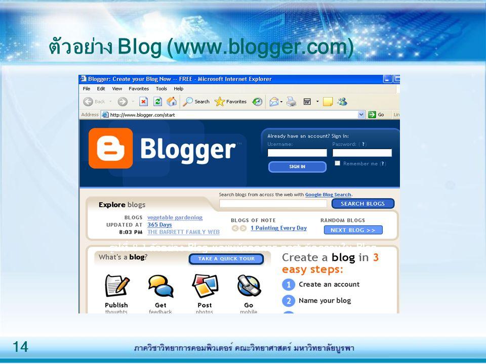 14 รูปที่ 8-1 ตัวอย่าง Blog และหน้าจอการ post ข้อความใน Blog ตัวอย่าง Blog (www.blogger.com)