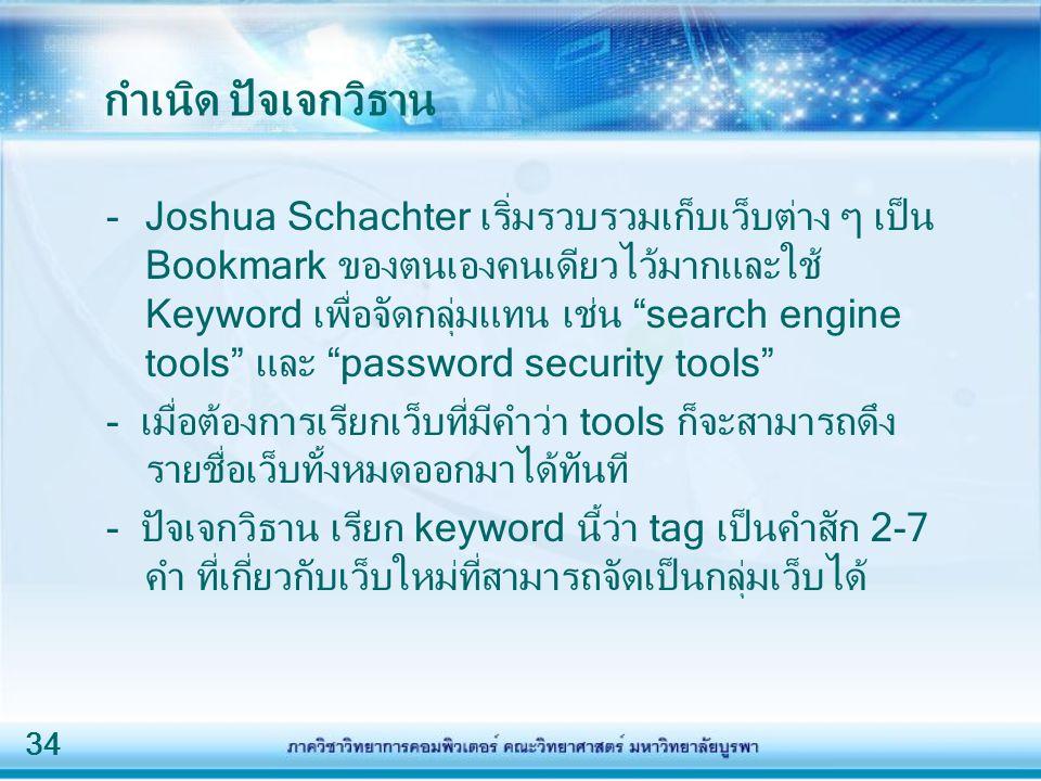 34 กำเนิด ปัจเจกวิธาน -Joshua Schachter เริ่มรวบรวมเก็บเว็บต่าง ๆ เป็น Bookmark ของตนเองคนเดียวไว้มากและใช้ Keyword เพื่อจัดกลุ่มแทน เช่น search engine tools และ password security tools - เมื่อต้องการเรียกเว็บที่มีคำว่า tools ก็จะสามารถดึง รายชื่อเว็บทั้งหมดออกมาได้ทันที - ปัจเจกวิธาน เรียก keyword นี้ว่า tag เป็นคำสัก 2-7 คำ ที่เกี่ยวกับเว็บใหม่ที่สามารถจัดเป็นกลุ่มเว็บได้