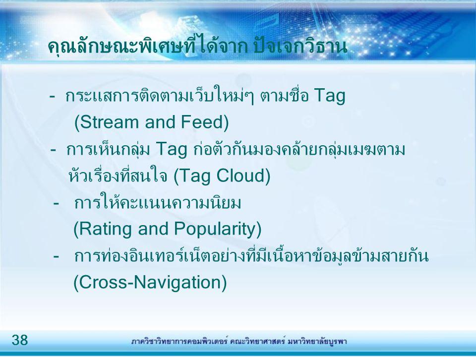 38 คุณลักษณะพิเศษที่ได้จาก ปัจเจกวิธาน - กระแสการติดตามเว็บใหม่ๆ ตามชื่อ Tag (Stream and Feed) - การเห็นกลุ่ม Tag ก่อตัวกันมองคล้ายกลุ่มเมฆตาม หัวเรื่องที่สนใจ (Tag Cloud) - การให้คะแนนความนิยม (Rating and Popularity) - การท่องอินเทอร์เน็ตอย่างที่มีเนื้อหาข้อมูลข้ามสายกัน (Cross-Navigation)