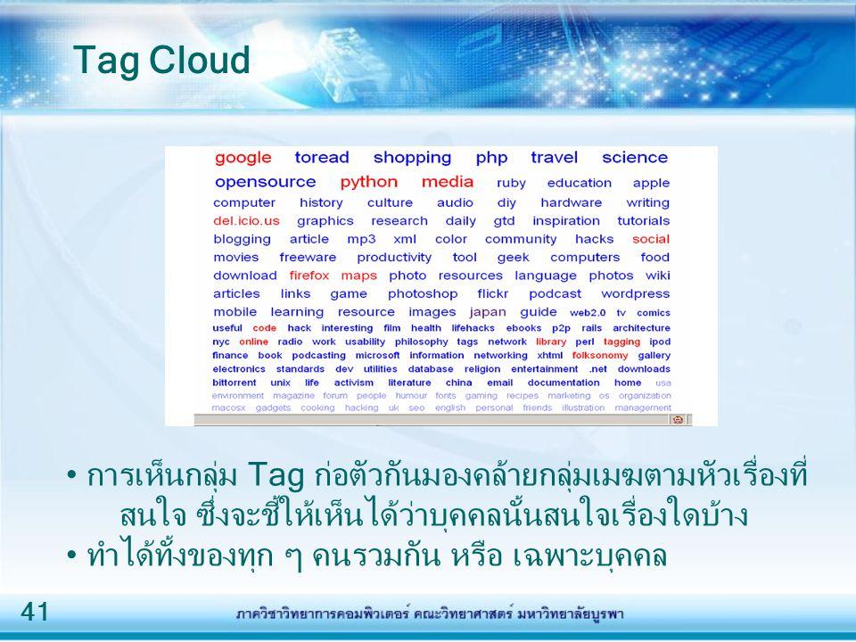 41 การเห็นกลุ่ม Tag ก่อตัวกันมองคล้ายกลุ่มเมฆตามหัวเรื่องที่ สนใจ ซึ่งจะชี้ให้เห็นได้ว่าบุคคลนั้นสนใจเรื่องใดบ้าง ทำได้ทั้งของทุก ๆ คนรวมกัน หรือ เฉพาะบุคคล Tag Cloud