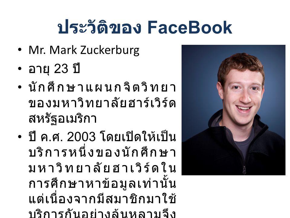 ประวัติของ FaceBook Mr. Mark Zuckerburg อายุ 23 ปี นักศึกษาแผนกจิตวิทยา ของมหาวิทยาลัยฮาร์เวิร์ด สหรัฐอเมริกา ปี ค. ศ. 2003 โดยเปิดให้เป็น บริการหนึ่ง