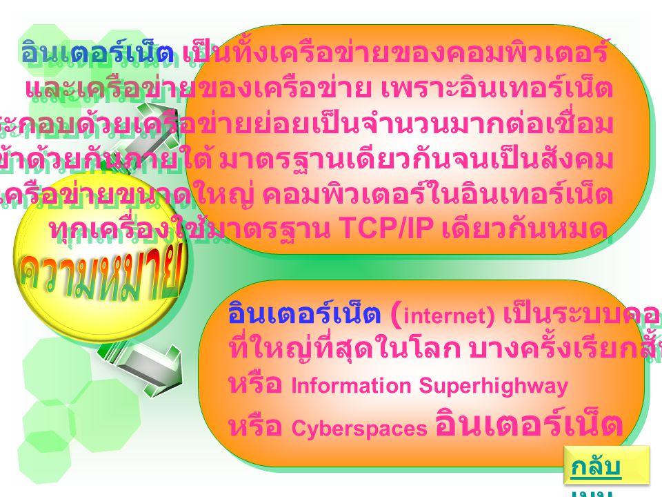 อินเตอร์เน็ต เป็นทั้งเครือข่ายของคอมพิวเตอร์ และเครือข่ายของเครือข่าย เพราะอินเทอร์เน็ต ประกอบด้วยเครือข่ายย่อยเป็นจำนวนมากต่อเชื่อม เข้าด้วยกันภายใต้ มาตรฐานเดียวกันจนเป็นสังคม เครือข่ายขนาดใหญ่ คอมพิวเตอร์ในอินเทอร์เน็ต ทุกเครื่องใช้มาตรฐาน TCP/IP เดียวกันหมด อินเตอร์เน็ต เป็นทั้งเครือข่ายของคอมพิวเตอร์ และเครือข่ายของเครือข่าย เพราะอินเทอร์เน็ต ประกอบด้วยเครือข่ายย่อยเป็นจำนวนมากต่อเชื่อม เข้าด้วยกันภายใต้ มาตรฐานเดียวกันจนเป็นสังคม เครือข่ายขนาดใหญ่ คอมพิวเตอร์ในอินเทอร์เน็ต ทุกเครื่องใช้มาตรฐาน TCP/IP เดียวกันหมด อินเตอร์เน็ต ( internet) เป็นระบบคอมพิวเตอร์ ที่ใหญ่ที่สุดในโลก บางครั้งเรียกสั้นๆ ว่า Net หรือ Information Superhighway หรือ Cyberspaces อินเตอร์เน็ต อินเตอร์เน็ต ( internet) เป็นระบบคอมพิวเตอร์ ที่ใหญ่ที่สุดในโลก บางครั้งเรียกสั้นๆ ว่า Net หรือ Information Superhighway หรือ Cyberspaces อินเตอร์เน็ต