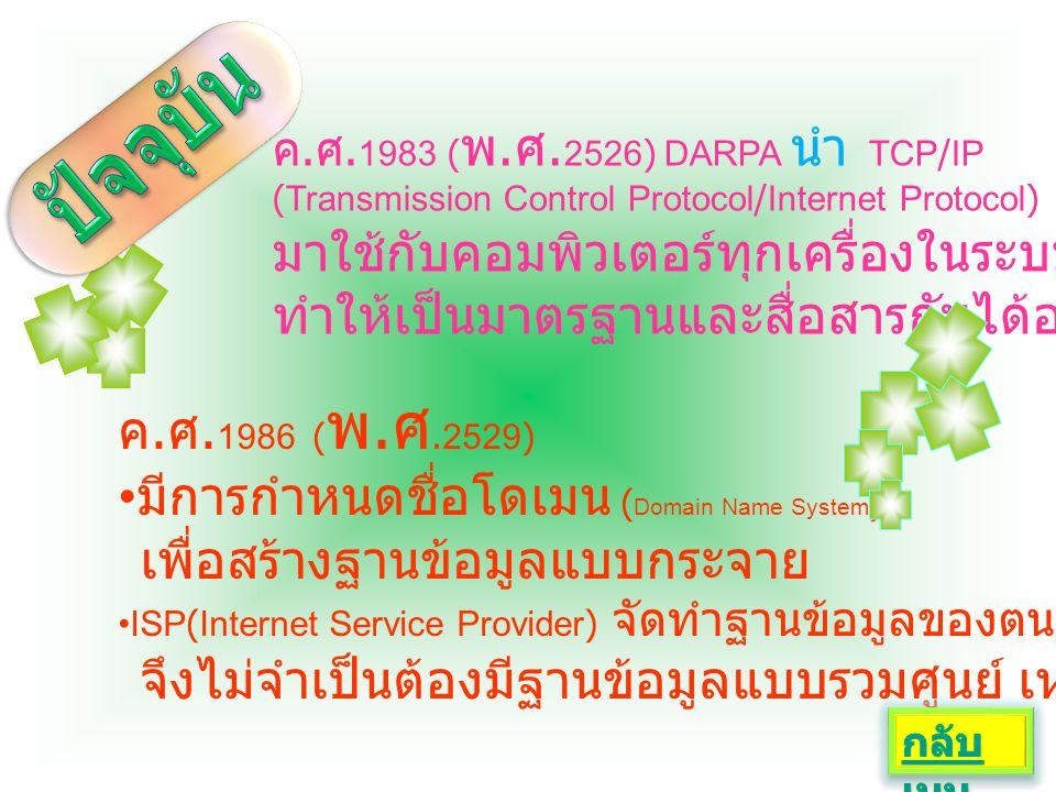 -DARPA ดูแลระบบ internet ถึง ค.ศ.1980( พ.