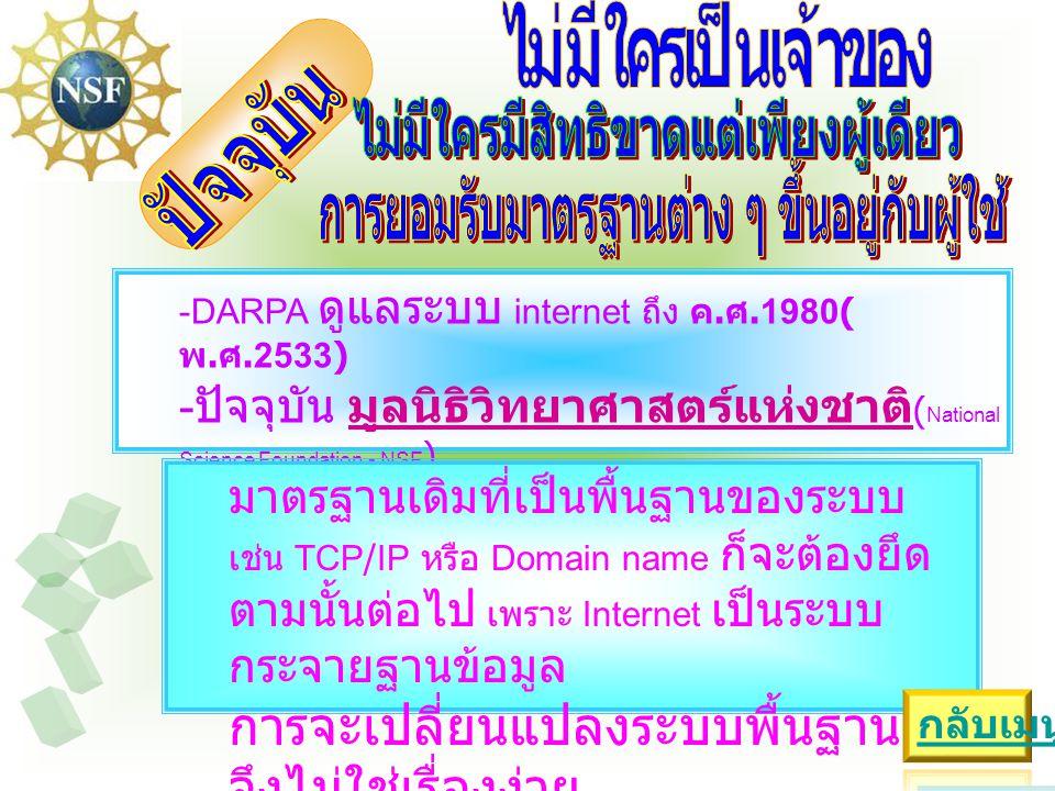 -DARPA ดูแลระบบ internet ถึง ค. ศ.1980( พ.