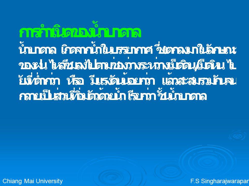 F.S SingharajwarapanChiang Mai University ชั้นหินอุ้มน้ำ (Aquifer) ชั้นหินอุ้มน้ำ (Aquifer): ชั้นหินหรือชั้น ตะกอนดินที่เก็บกักน้ำและสามารถจ่าย น้ำได้เป็นปริมาณมากและเพียงพอต่อ การใช้สอย การที่ชั้นหินหรือชั้นตะกอนจะเป็น aquifer ได้หรือไม่ขึ้นกับ ความพรุน (Porosity) ความซึมได้ (Permeability)