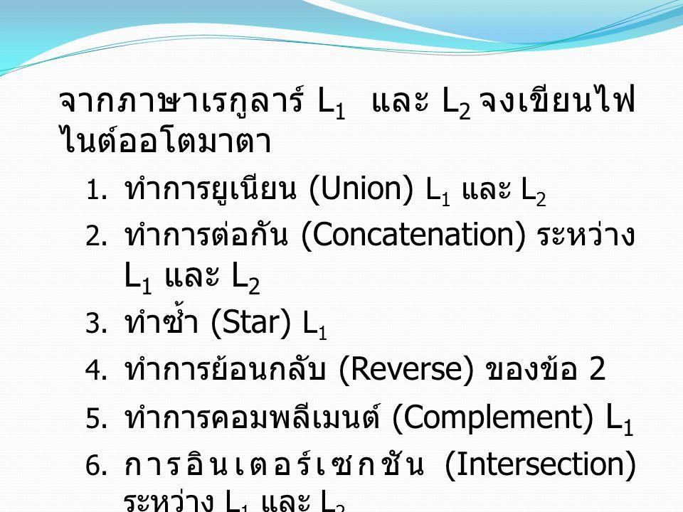 จากภาษาเรกูลาร์ L 1 และ L 2 จงเขียนไฟ ไนต์ออโตมาตา 1. ทำการยูเนียน (Union) L 1 และ L 2 2. ทำการต่อกัน (Concatenation) ระหว่าง L 1 และ L 2 3. ทำซ้ำ (St