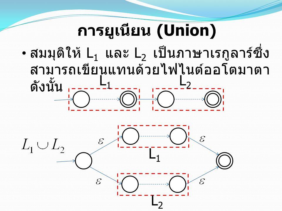 การยูเนียน (Union) สมมุติให้ L 1 และ L 2 เป็นภาษาเรกูลาร์ซึ่ง สามารถเขียนแทนด้วยไฟไนต์ออโตมาตา ดังนั้น L1L1 L2L2 L1L1 L2L2