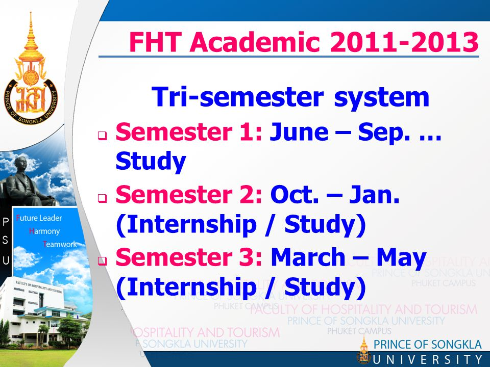 FHT Academic 2011-2013 Tri-semester system  Semester 1: June – Sep. … Study  Semester 2: Oct. – Jan. (Internship / Study)  Semester 3: March – May
