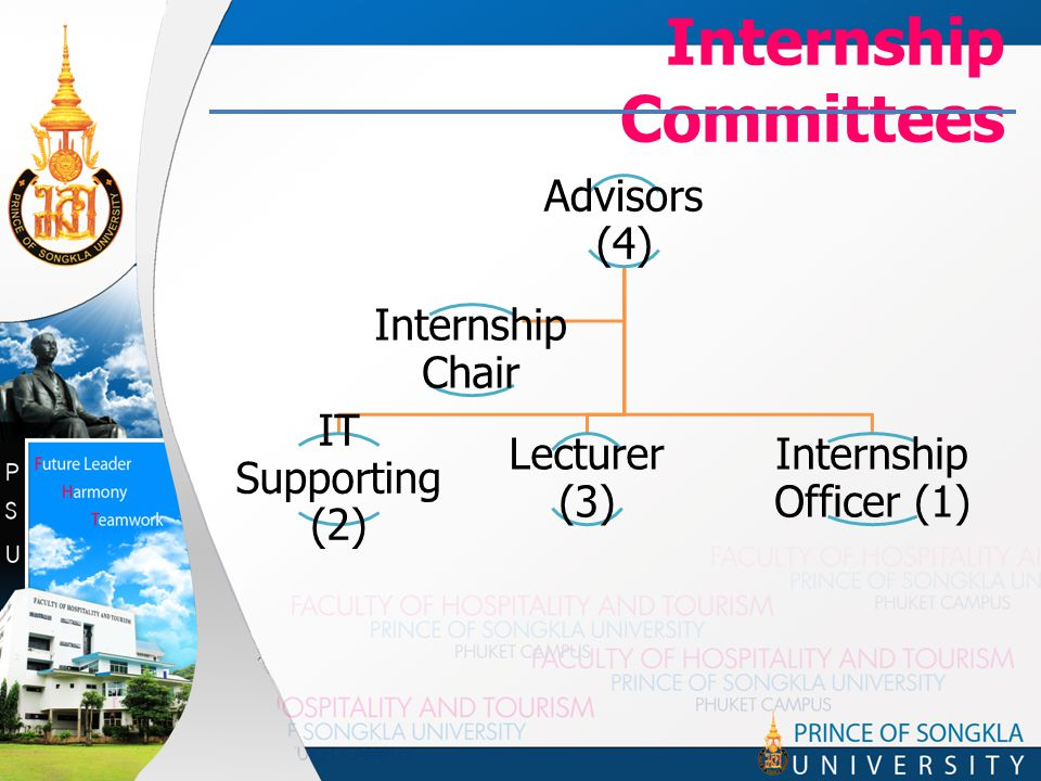 Internship Committees Advisors (4) IT Supporting (2) Lecturer (3) Internship Officer (1) Internship Chair