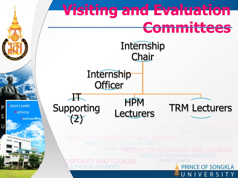 Visiting and Evaluation Committees Internship Chair IT Supporting (2) HPM Lecturers TRM Lecturers Internship Officer