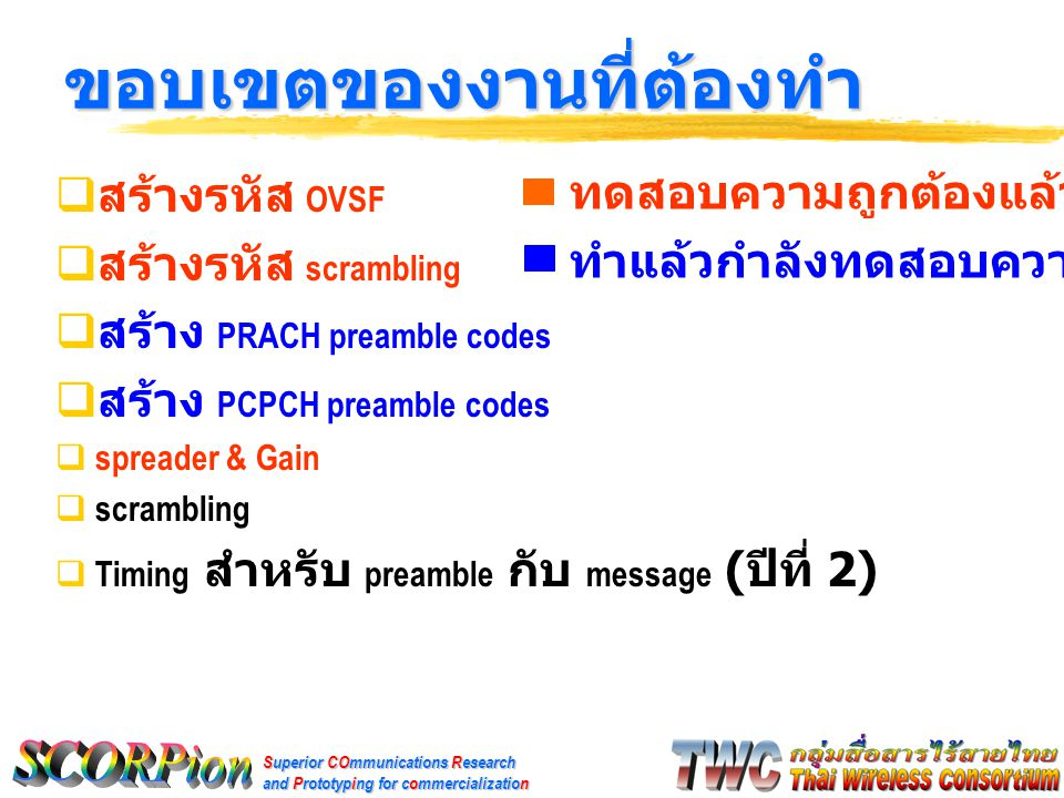 Superior COmmunications Research and Prototyping for commercialization  สร้างรหัส OVSF  สร้างรหัส scrambling  สร้าง PRACH preamble codes  สร้าง PCPCH preamble codes  spreader & Gain  scrambling  Timing สำหรับ preamble กับ message ( ปีที่ 2) ขอบเขตของงานที่ต้องทำ ทดสอบความถูกต้องแล้ว ทำแล้วกำลังทดสอบความถูกต้องอยู่