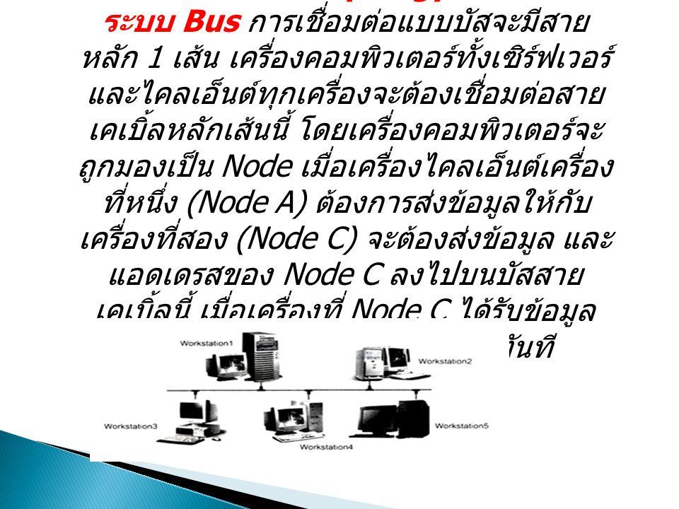 รูปแบบการเชื่อมต่อของระบบเครือข่าย LAN Topology ระบบ Bus การเชื่อมต่อแบบบัสจะมีสาย หลัก 1 เส้น เครื่องคอมพิวเตอร์ทั้งเซิร์ฟเวอร์ และไคลเอ็นต์ทุกเครื่องจะต้องเชื่อมต่อสาย เคเบิ้ลหลักเส้นนี้ โดยเครื่องคอมพิวเตอร์จะ ถูกมองเป็น Node เมื่อเครื่องไคลเอ็นต์เครื่อง ที่หนึ่ง (Node A) ต้องการส่งข้อมูลให้กับ เครื่องที่สอง (Node C) จะต้องส่งข้อมูล และ แอดเดรสของ Node C ลงไปบนบัสสาย เคเบิ้ลนี้ เมื่อเครื่องที่ Node C ได้รับข้อมูล แล้วจะนำข้อมูล ไปทำงานต่อทันที