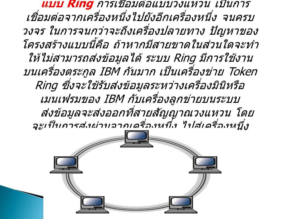 แบบ Ring การเชื่อมต่อแบบวงแหวน เป็นการ เชื่อมต่อจากเครื่องหนึ่งไปยังอีกเครื่องหนึ่ง จนครบ วงจร ในการจนกว่าจะถึงเครื่องปลายทาง ปัญหาของ โครงสร้างแบบนี้คือ ถ้าหากมีสายขาดในส่วนใดจะทำ ให้ไม่สามารถส่งข้อมูลได้ ระบบ Ring มีการใช้งาน บนเครื่องตระกูล IBM กันมาก เป็นเครื่องข่าย Token Ring ซึ่งจะใช้รับส่งข้อมูลระหว่างเครื่องมินิหรือ เมนเฟรมของ IBM กับเครื่องลูกข่ายบนระบบ ส่งข้อมูลจะส่งออกที่สายสัญญาณวงแหวน โดย จะเป็นการส่งผ่านจากเครื่องหนึ่ง ไปสู่เครื่องหนึ่ง