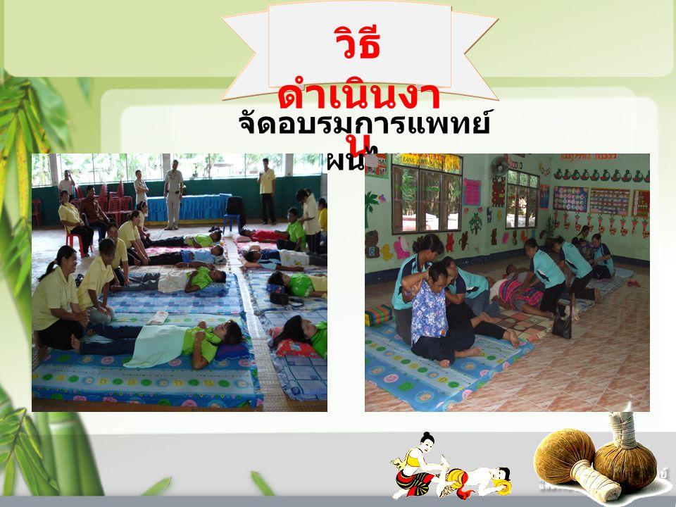 วิธี ดำเนินงา น จัดอบรมการแพทย์ แผนไทย