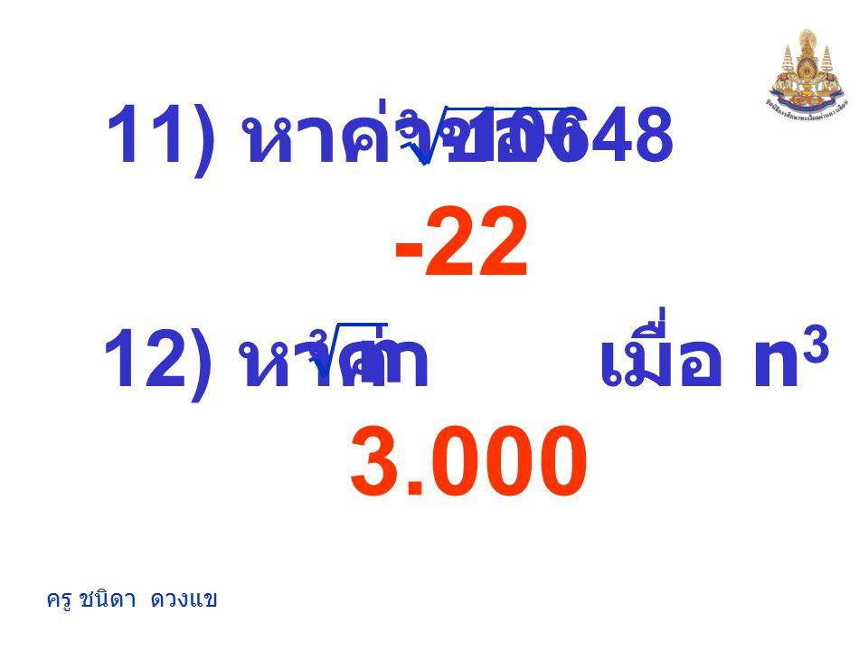 ครู ชนิดา ดวงแข 2.351 9) หาค่า เมื่อ n 3 = 2197 n 3 10) หาค่าของ 4096 3 16