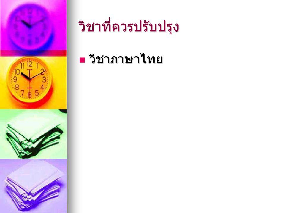 วิชาที่ควรปรับปรุง วิชาภาษาไทย วิชาภาษาไทย
