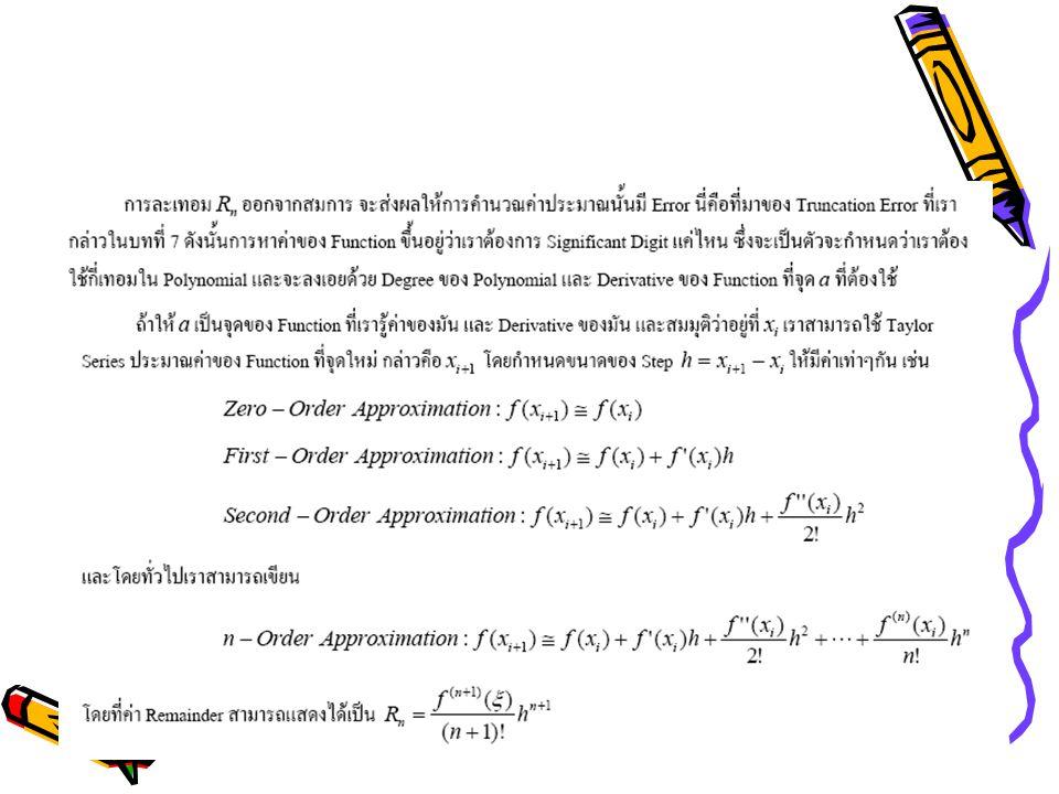 Numerical Integration Newton-Cotes Integration Formula Zero-Order Approximation First-Order Approximation –Trapezoidal Rule Second-Order Approximation –Simpson 1/3 rule Third-Order Approximation –Simpson 3/8 rule Romberg Integration –Richardson Extrapolation –Romberg Integration Algorithm