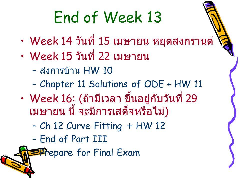 End of Week 13 Week 14 วันที่ 15 เมษายน หยุดสงกรานต์ Week 15 วันที่ 22 เมษายน – ส่งการบ้าน HW 10 –Chapter 11 Solutions of ODE + HW 11 Week 16: ( ถ้ามีเวลา ขึ้นอยู่กับวันที่ 29 เมษายน นี้ จะมีการเสด็จหรือไม่ ) –Ch 12 Curve Fitting + HW 12 –End of Part III –Prepare for Final Exam