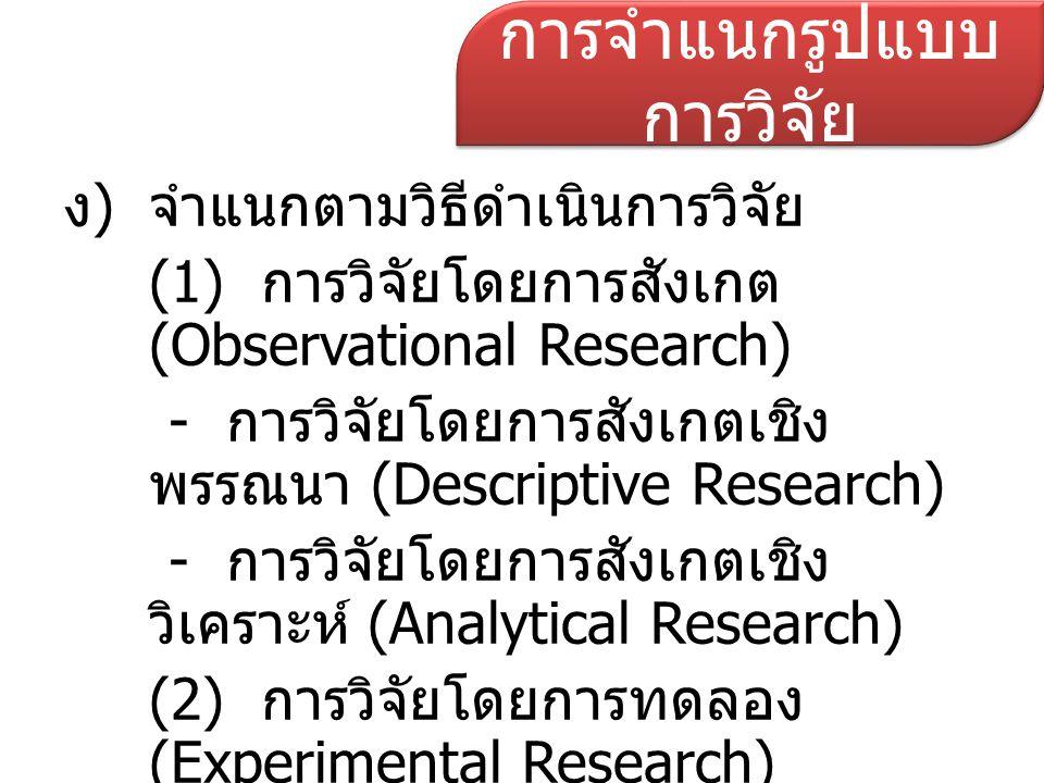 ง)จำแนกตามวิธีดำเนินการวิจัย (1) การวิจัยโดยการสังเกต (Observational Research) - การวิจัยโดยการสังเกตเชิง พรรณนา (Descriptive Research) - การวิจัยโดยก