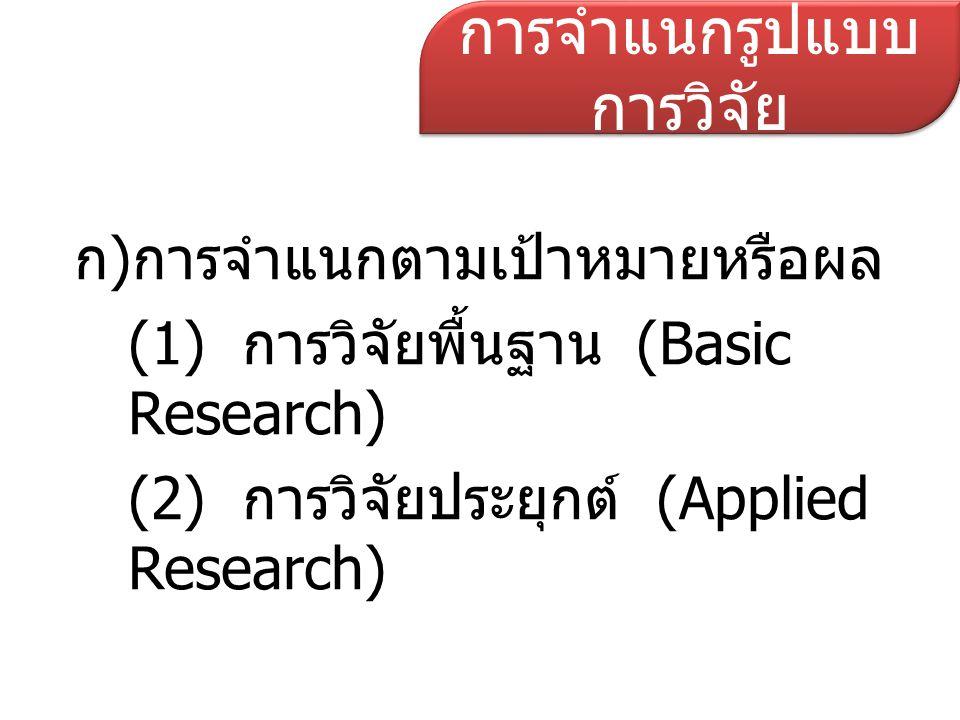 ข)จำแนกตามลักษณะสิ่งที่ทำการศึกษา (1) การวิจัยวารสารหรือเอกสาร (Documentary Research) (2) การวิจัยทางห้องปฏิบัติการ (Laboratory Research) (3) การวิจัยในสัตว์ทดลอง (Animal Research) (4) การวิจัยทางคลินิก (Clinical Research) (5) การวิจัยชุมชน (Community Research) (6) การวิจัยปฏิบัติการ (Operational Research) (7) การวิจัยบริการสาธารณสุข (Health Service Research) การจำแนกรูปแบบ การวิจัย