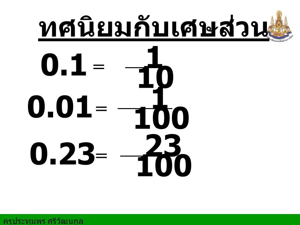 ครูประทุมพร ศรีวัฒนกูล 0.1 = 0.01 = 0.23 = ทศนิยมกับเศษส่วน 1 10 1 100 23 100