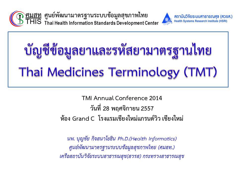 Thai Health Informatics Academy Thai Health Information Standard Development Center(THIS) กรอบการนำเสนอ  ทำไมต้องพัฒนา TMT และ TMT คืออะไร.
