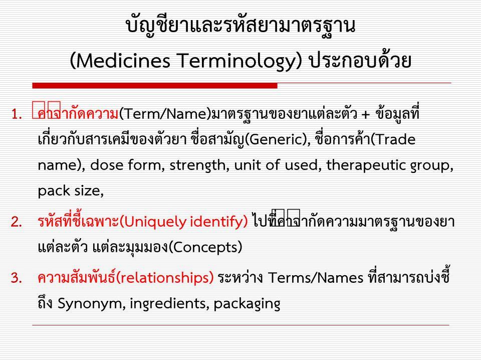 บัญชียาและรหัสยามาตรฐาน (Medicines Terminology) ประกอบด้วย 1.คำจำกัดความ(Term/Name)มาตรฐานของยาแต่ละตัว + ข้อมูลที่ เกี่ยวกับสารเคมีของตัวยา ชื่อสามัญ