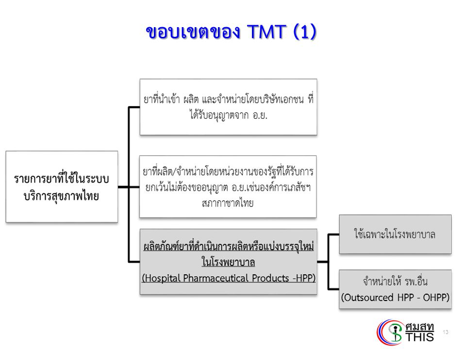 Thai Health Informatics Academy Thai Health Information Standard Development Center(THIS) ขอบเขตของ TMT (1) 13
