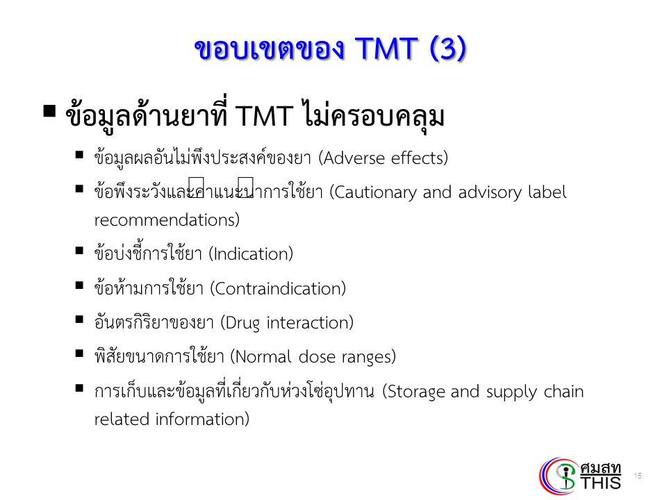 Thai Health Informatics Academy Thai Health Information Standard Development Center(THIS) ขอบเขตของ TMT (3)  ข้อมูลด้านยาที่ TMT ไม่ครอบคลุม  ข้อมูล
