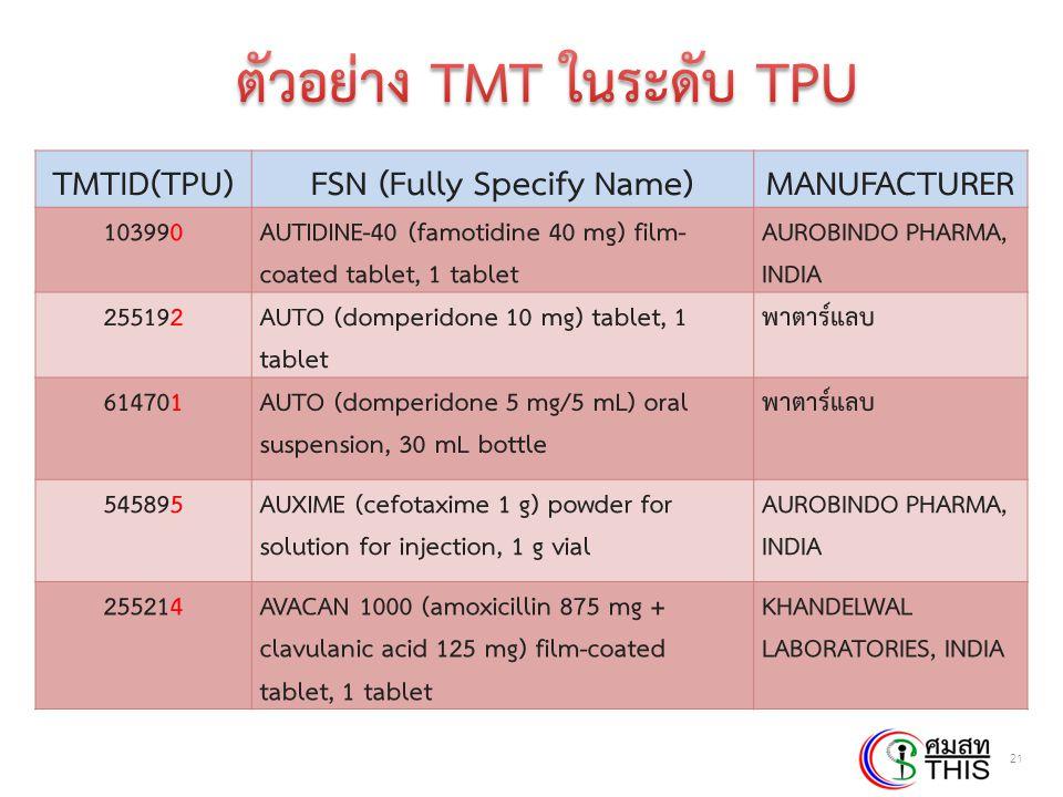 Thai Health Informatics Academy Thai Health Information Standard Development Center(THIS) 21 TMTID(TPU)FSN (Fully Specify Name)MANUFACTURER 103990AUTI