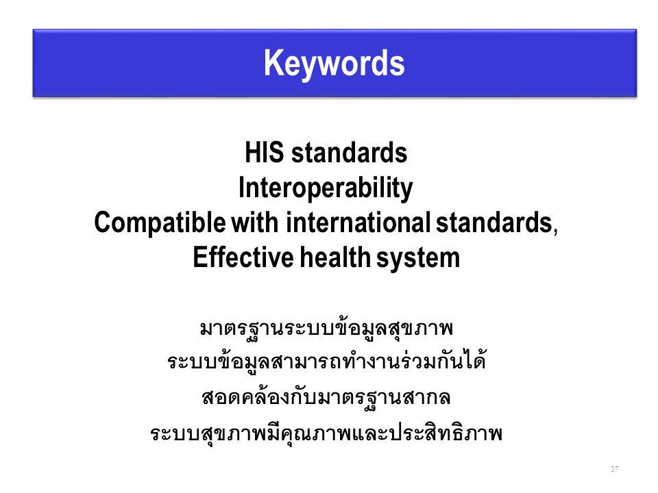 HIS standards Interoperability Compatible with international standards, Effective health system มาตรฐานระบบข้อมูลสุขภาพ ระบบข้อมูลสามารถทำงานร่วมกันได