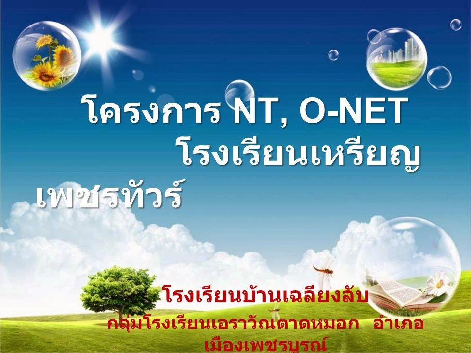 โครงการ NT, O-NET โรงเรียนเหรียญ เพชรทัวร์ โรงเรียนบ้านเฉลียงลับ กลุ่มโรงเรียนเอราวัณตาดหมอก อำเภอ เมืองเพชรบูรณ์