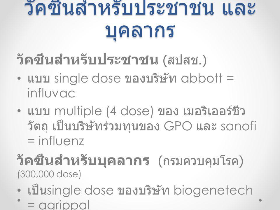 วัคซีนสำหรับประชาชน และ บุคลากร วัคซีนสำหรับประชาชน ( สปสช.) แบบ single dose ของบริษัท abbott = influvac แบบ multiple (4 dose) ของ เมอริเออร์ชีว วัตถุ เป็นบริษัทร่วมทุนของ GPO และ sanofi = influenz วัคซีนสำหรับบุคลากร ( กรมควบคุมโรค ) (300,000 dose) เป็น single dose ของบริษัท biogenetech = agrippal