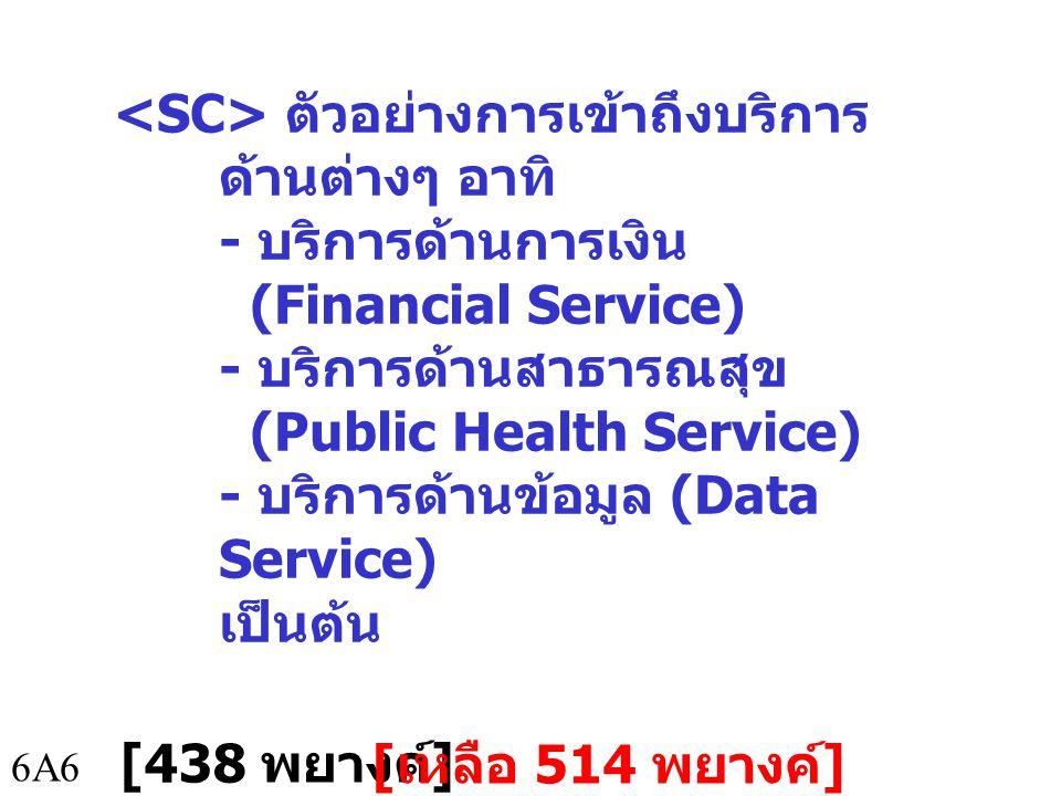 6A7 การเข้าถึงบริการทาง การเงิน อาทิ - การชำระเงิน ฝากเงิน และ โอนเงิน - การทำธุรกรรมทางการเงิน ผ่านโทรศัพท์มือถือ หรือที่ เรียกว่า โมบายแบงกิ้ง (Mobile Banking) เป็นต้น [498 พยางค์ ] [ เหลือ 454 พยางค์ ]